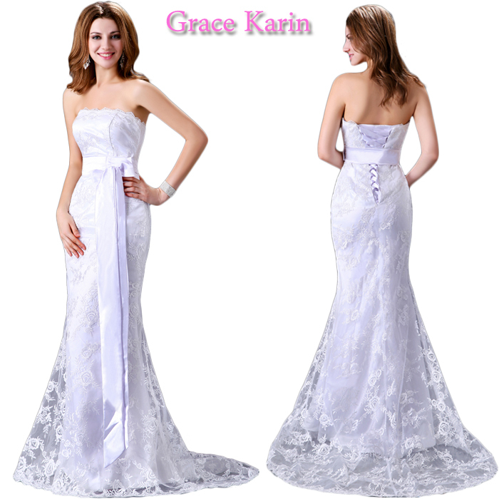 vestido grace karin cetim 2015 New Elegant strapless Beach Satin Lace floor length white Bridal wedding Dresses Gown CL2527