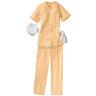 100% Polyester Short Sleeve Housekeeping and Maids Uniform Set Tunic and Elastic Waistband Pants