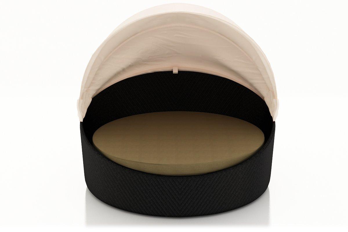 Harmonia Living Wink Outdoor Modern Wicker Daybed with Tan Sunbrella Cushion (SKU HL-WINK-CB-DB-HB)