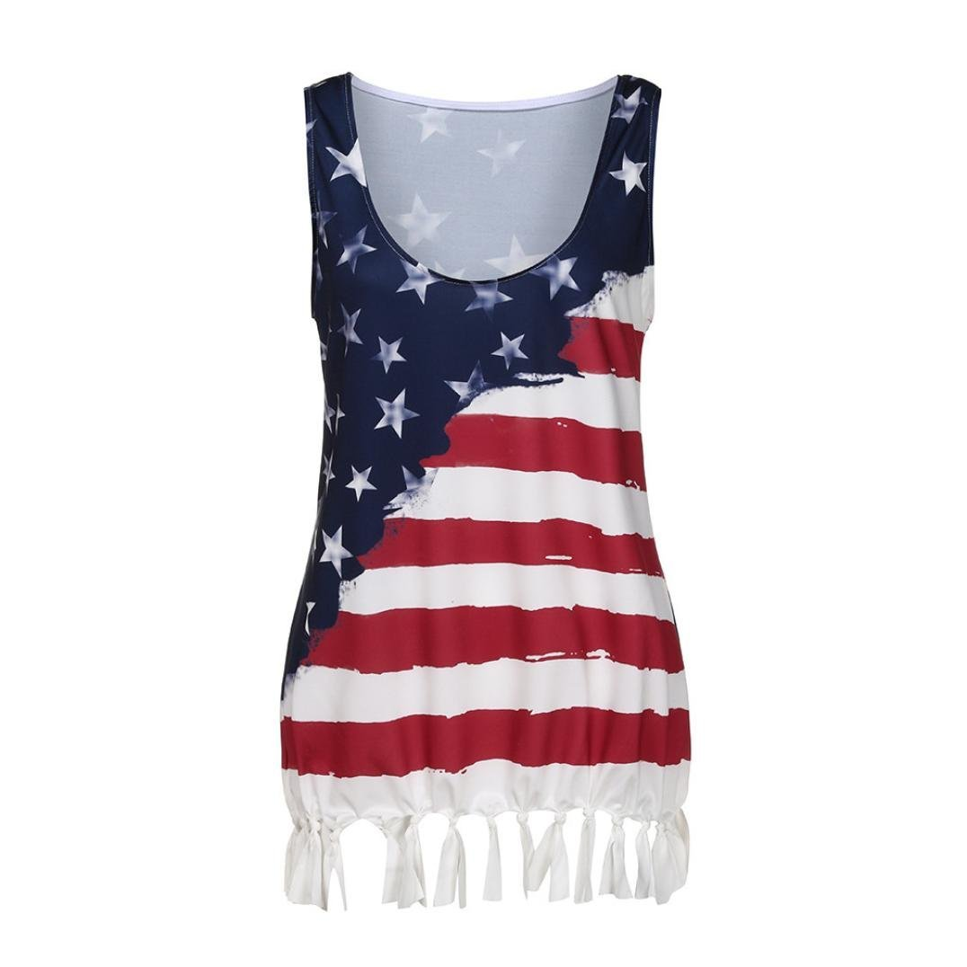 Casual USA American Flag Tank Top for Women Juniors Plus Size July 4th Party Tassel Loose Sleeveless Tops T-Shirt Blouse (5XL, Red)