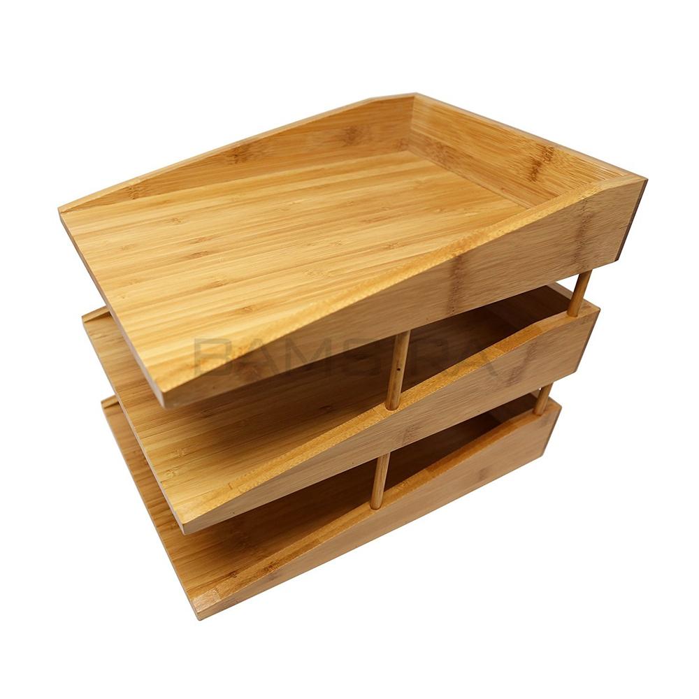 3 уровня бамбука Настольный органайзер для почты держатель папка с перегородками/Bamsira_Factory