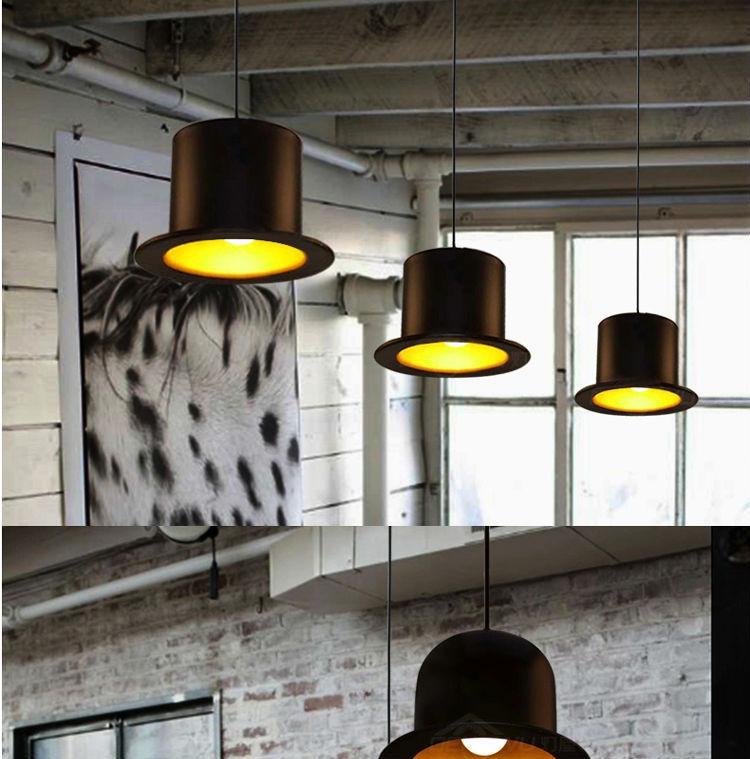Modern Black Industrial Magic Hat Style Vintage Metal Pendant Lamp