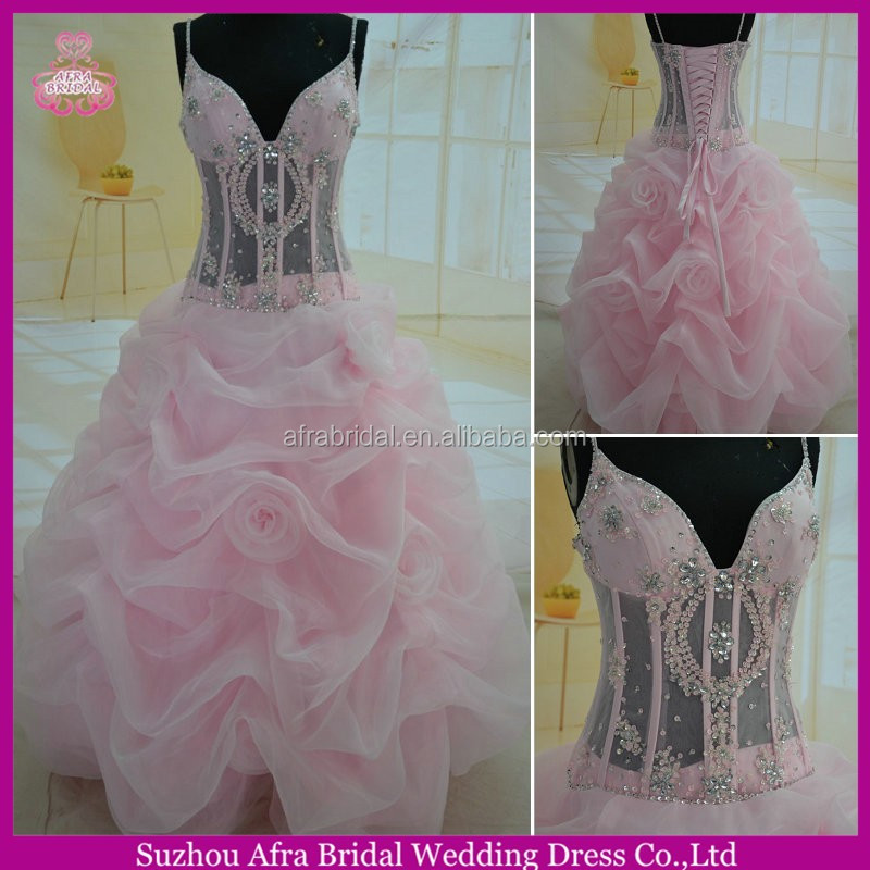 SW169 spaghetti strap ball gown sexy bodice pink quinceanera dress cheap