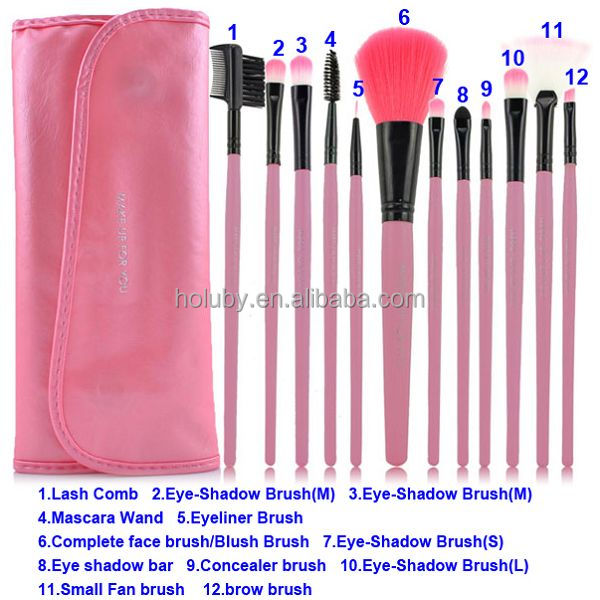Attractive design 12 in 1 beauty kit cosmetic soft makeup brush set makeup brush