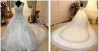 2014 Stunning V-Neck Chapel Train Luxury Ball Gown Wedding Dress Bridal Gown Rhinestone Applique Accent NB066