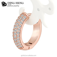 New design saudi gold jewelry famous brand rose gold crystal hoop ring type earrings