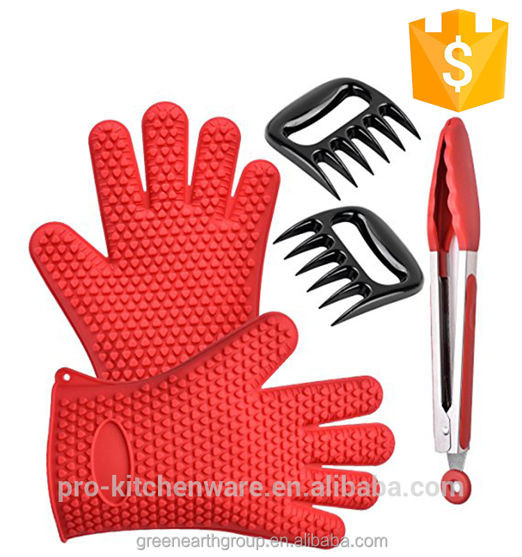 Buy Silicone BBQ Nonstick Heat Resistant Gloves Cooking Oven Kitchen Meat Claw All In A Gift Color Box