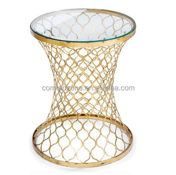 cn8014 moderne gouden spiraalbodem ontwerp helder glas salontafel