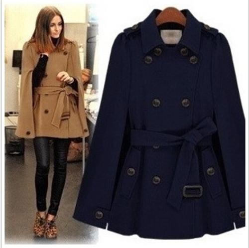 Осень зима женщин двубортная мыс в форме крыла летучей мыши шерсть полушерстянная пончо поясом куртка женское леди зима тёплый плащ пальто