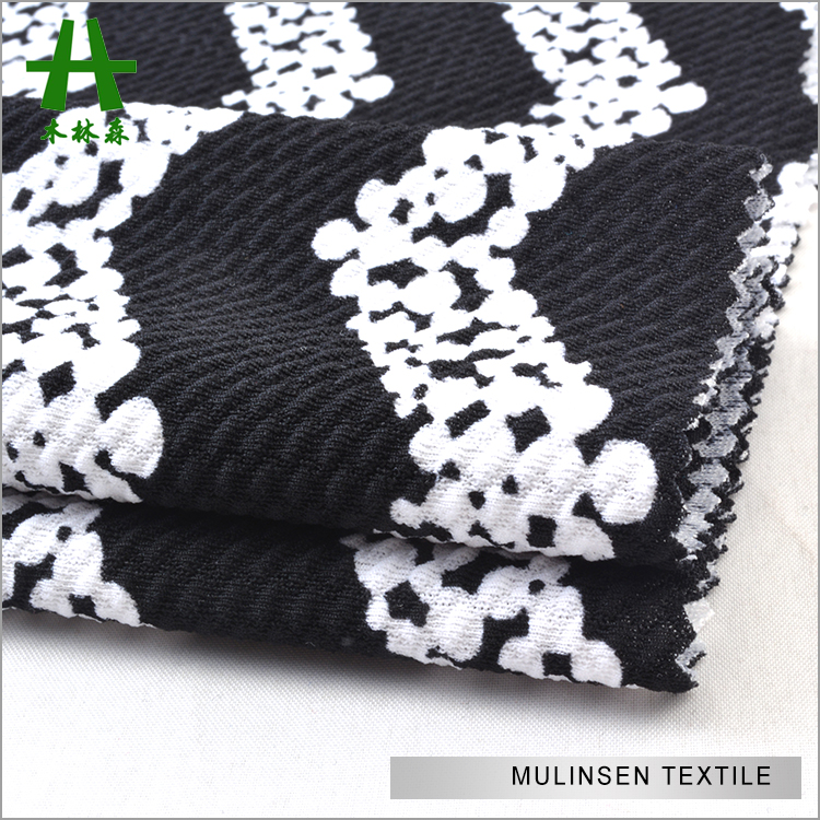2016 Hot Sale Mulinsen Textile Black White Polka Dots Print Polyester Double Sided Knit Stretch Fabric Jersey Jacquard for Women