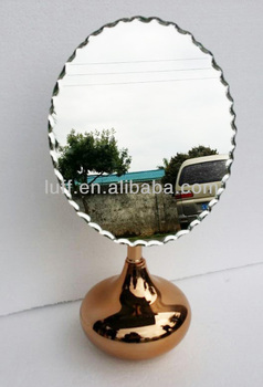 Designed Round Ball Base Rose Gold Oval Decorative Table Mirror Bathroom  Mirror Stand
