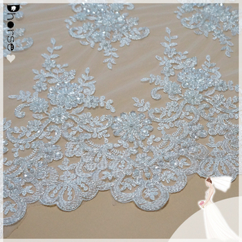 2015 dhorse bridal lace/ DH-BF775 100% polyester wedding embroidery lace fabric/latest hand beaded designs