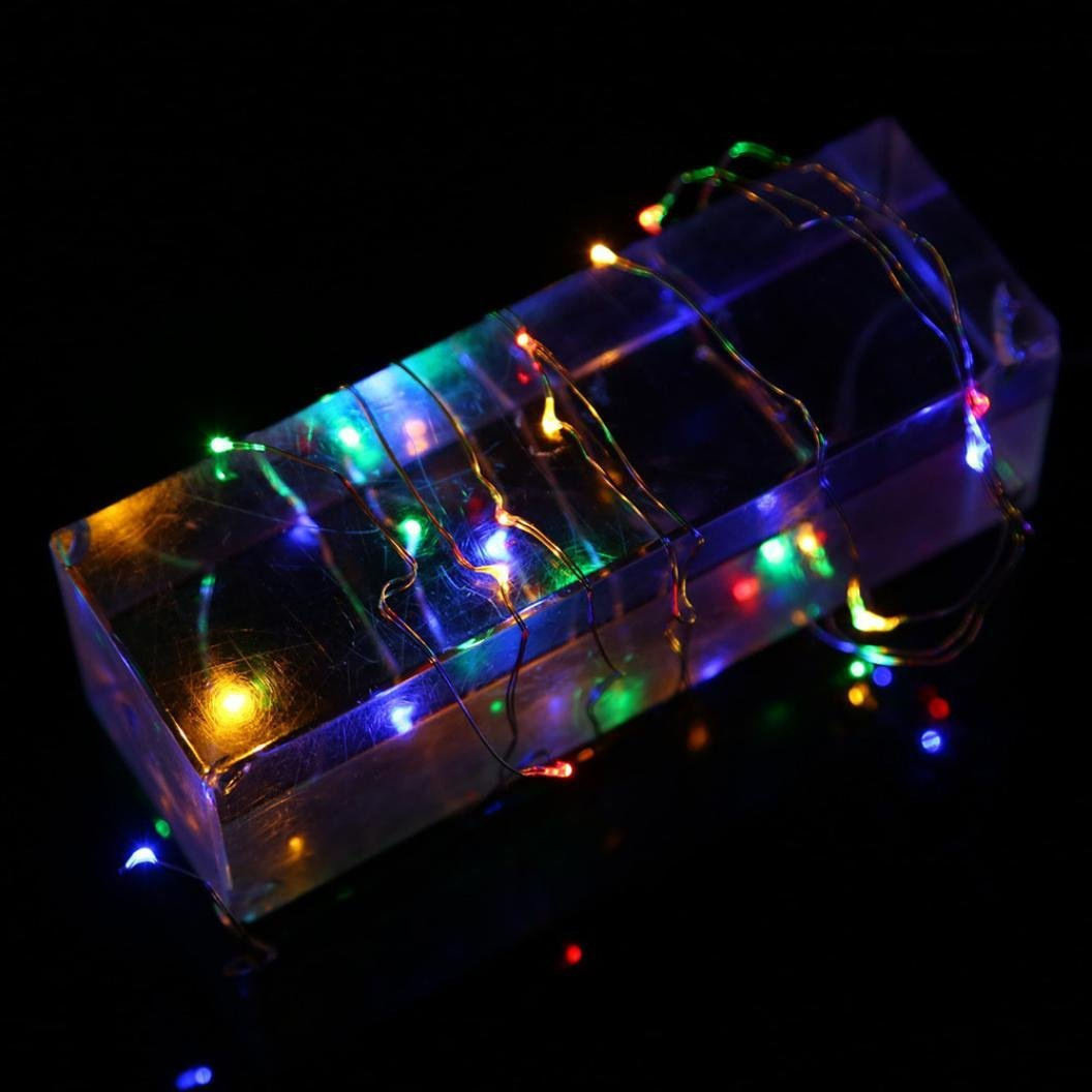 Rumas 2018 3M 30LED Button Cell Powered Silver Copper Wire Mini Fairy String Lights (Multicolor)