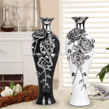 Wholesale Black Silver Modern Wedding Porcelain Flower Vase For