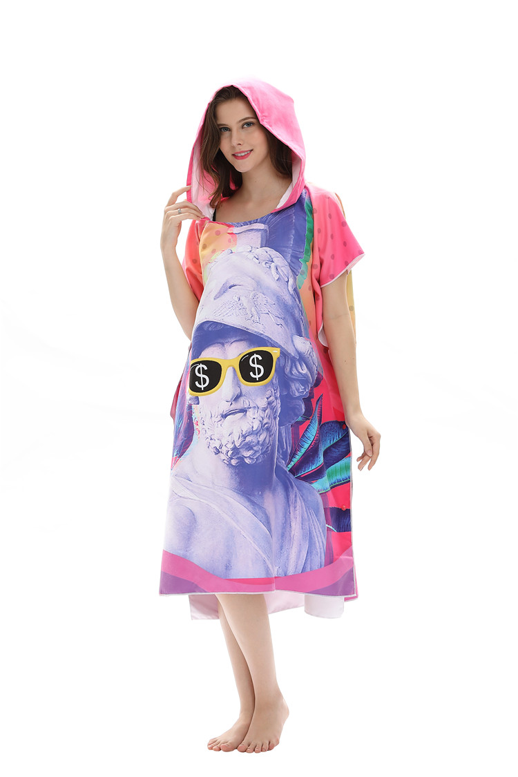 Leisure Daily Use Original Design Large Printed China Supplier Best Quality Private Custom Adult Poncho Hooded Towel