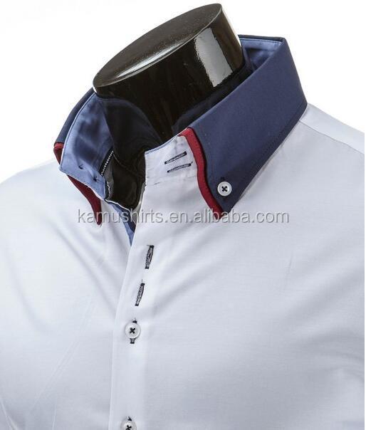 Heren Overhemd Hoge Boord.Hoge Kraag Heren Overhemden Dubbele Fashion Designer Slim Fit Man