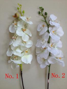silk white artificial orchids flowers long single stem - Silk Orchids