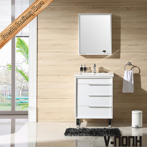 popular white 22 inch depth integrated ceramic sink bathroom cabinet