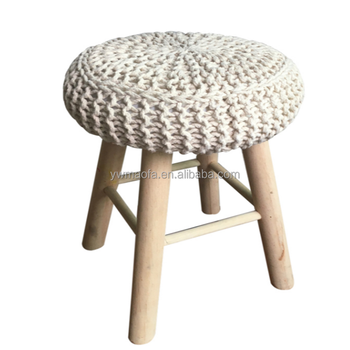 Miraculous Wholesales Round Wooden Foot Stool With Crochet Knitted Cotton Cover Pouf Ottoman Furniture Buy Wooden Foot Stool Knitted Pouf Ottoman Crochet Frankydiablos Diy Chair Ideas Frankydiabloscom