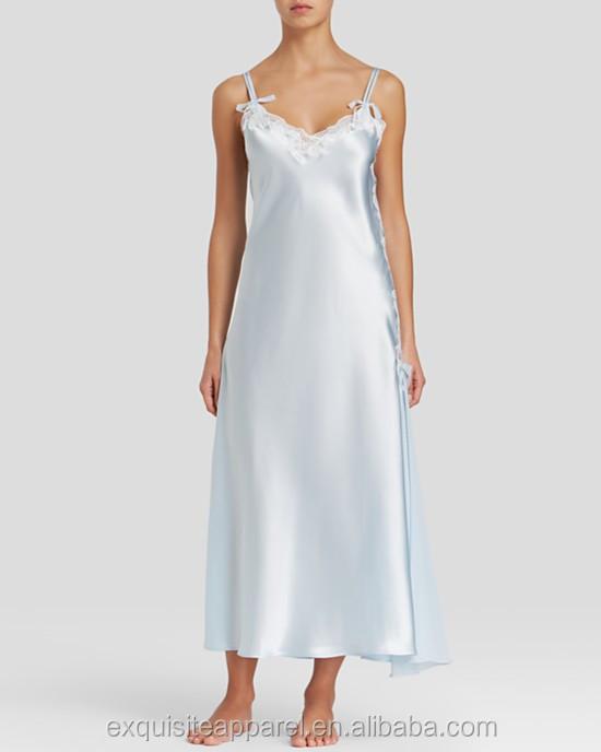 1130c5d7b Custom 100% Poliéster Sexy Longa Camisola De Cetim Branco Atacado Camisolas