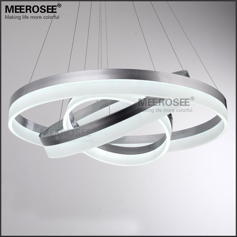 Zilver/Zwart 3 Lagen Ronde LED Hanglamp, acryl Cirkel Ringen ...