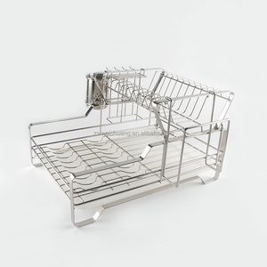 Modern 2 tier stainless steel collapsible dish drainer rack