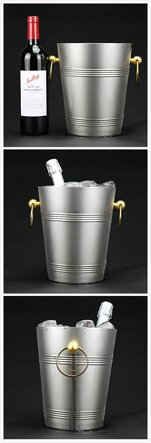 Factory direct stainless steel metal ice bucket with lid for bar