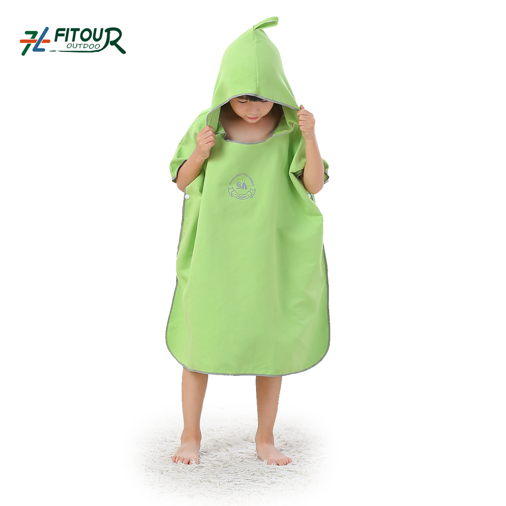BSCI Audited Factory Microfiber Sandless Kids Hooded Beach Changing Robe Beach Poncho Towel Swimming Surf