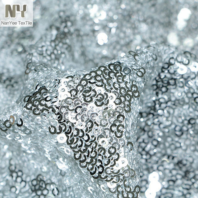 Nanyee Textile Nylon Stretch Mesh PET Shiny Silver Sequin Fabric