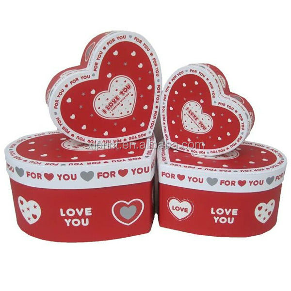 Heart shape red paper ring box/jewelry gift ring box