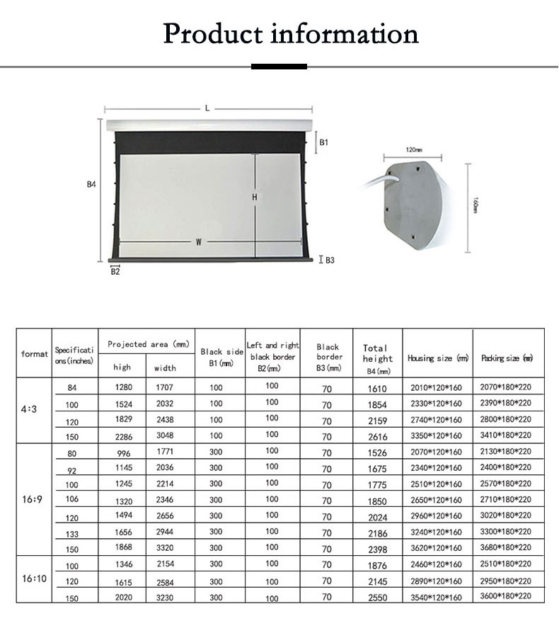Luxury 180 inch Wholesale 4K projector screen remote control motorized projection screen