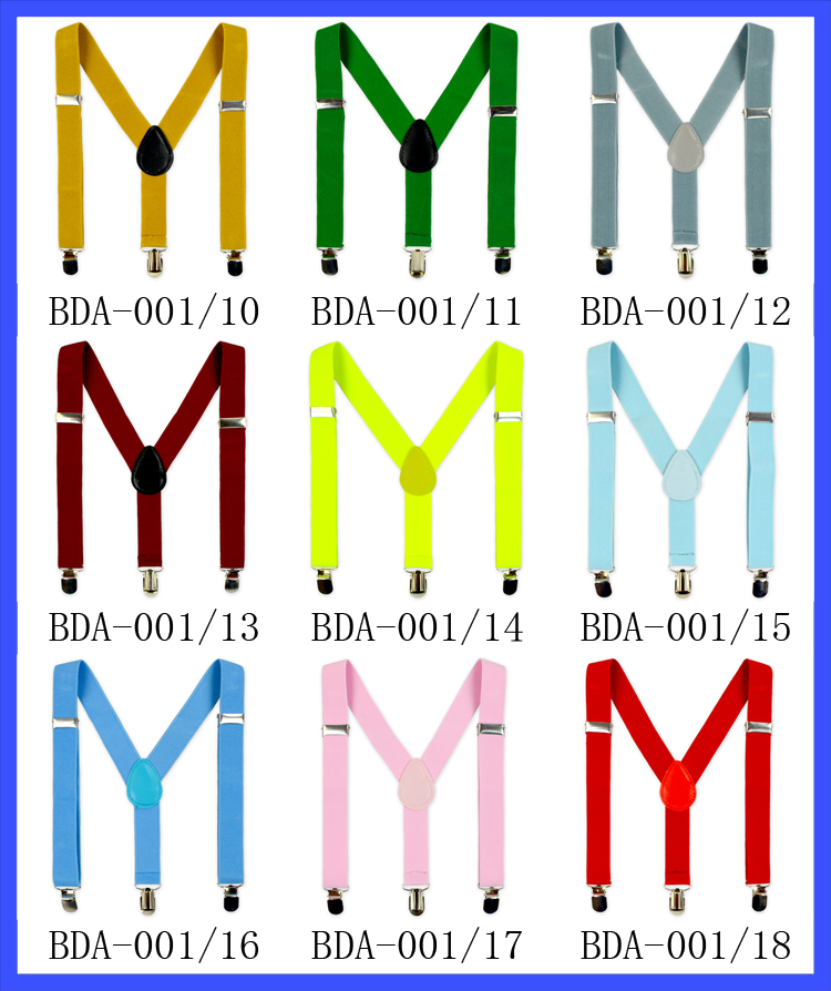 Hot Fashion Solid Color Toddler Suspenders Cheap Kids Suspender With Metal Clips Wholesale Baby Suspenders