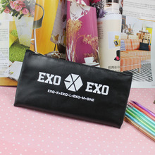 Fashion Creative Black EXO pencil case Students Stationery For girls Boys PU Leather Pen Bag Office school supplies Canetas