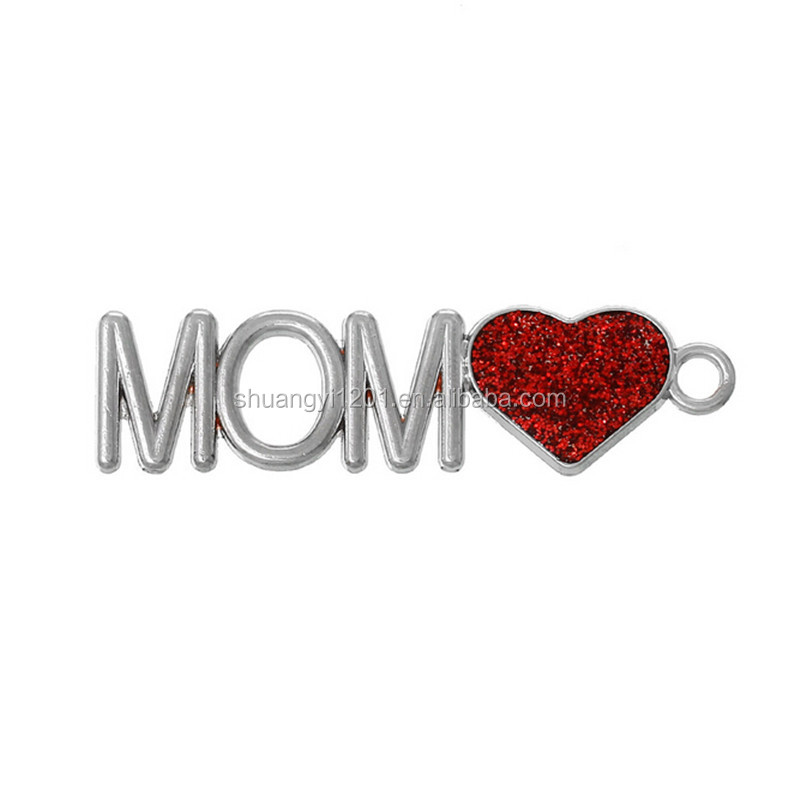 Silver plated red glitter enamel mom heart charms pendant jewelry