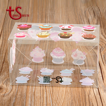 Foldable cute plastic pvc square clear cupcake packing box