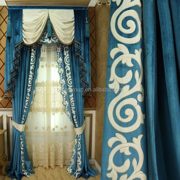 Royal Classique Anglais Style Victorien Bleu Floral Rideau Avec ...