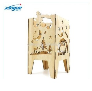 Laser Cut Wood Craft Christmas Candle Holders,Night scene with reindeer and shooting star