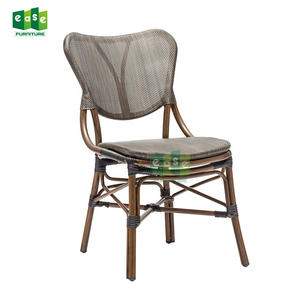 High quality rattan outdoor aluminum textilener bistro side chair for sale E1168