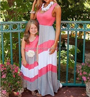 Mommy and Me summer Matching Maxi Dress kids stripe Dress High Waisted mother daughter dress clothes