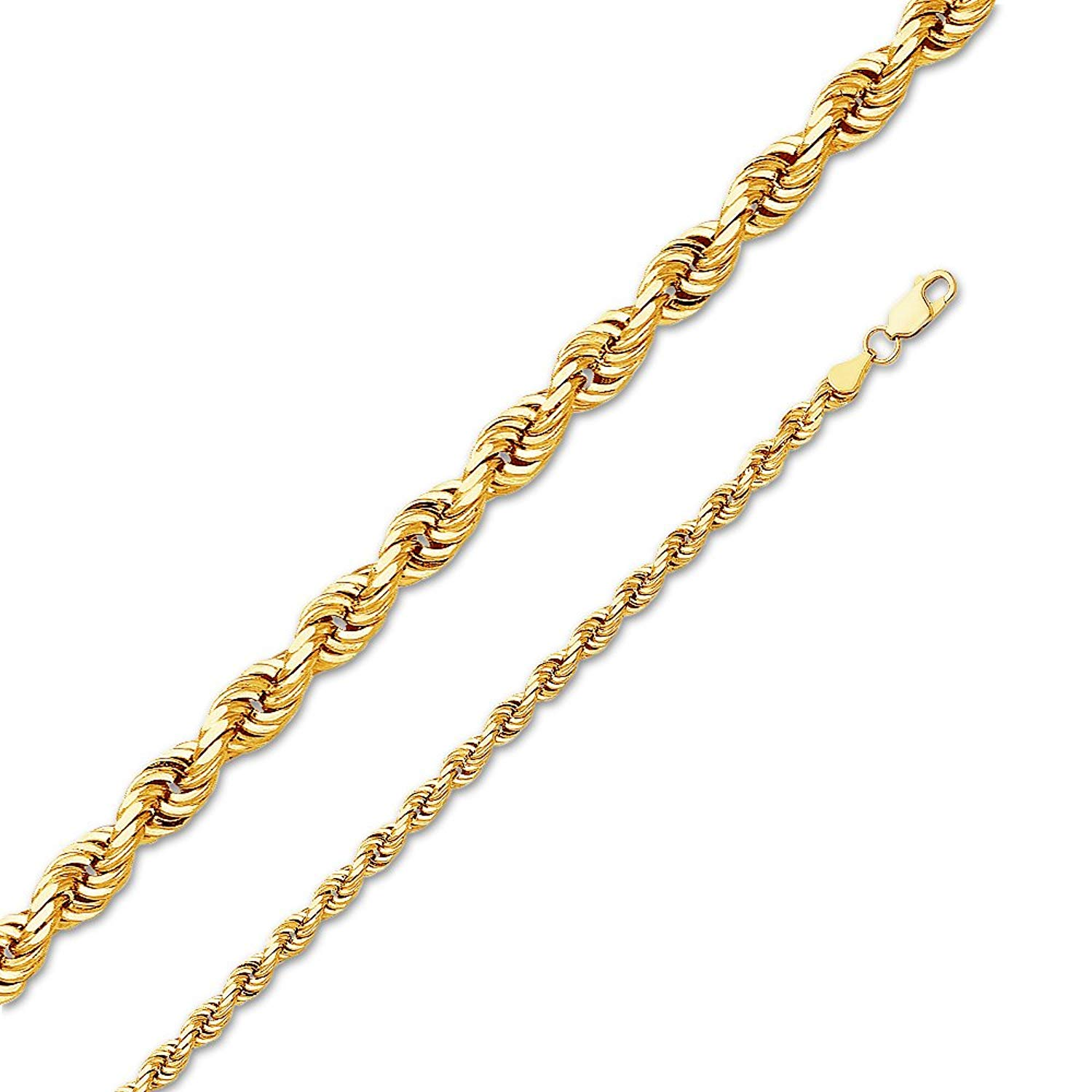 Jewel Tie Solid 14K Yellow Gold Solid 5mm Solid Rope Diamond-Cut Necklace Chain