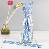 Eco-Friendly Printed Blue Striped Big Dots Paper Straw For Party