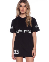 customized fashion black t-shirts dress pattern oem knee dress