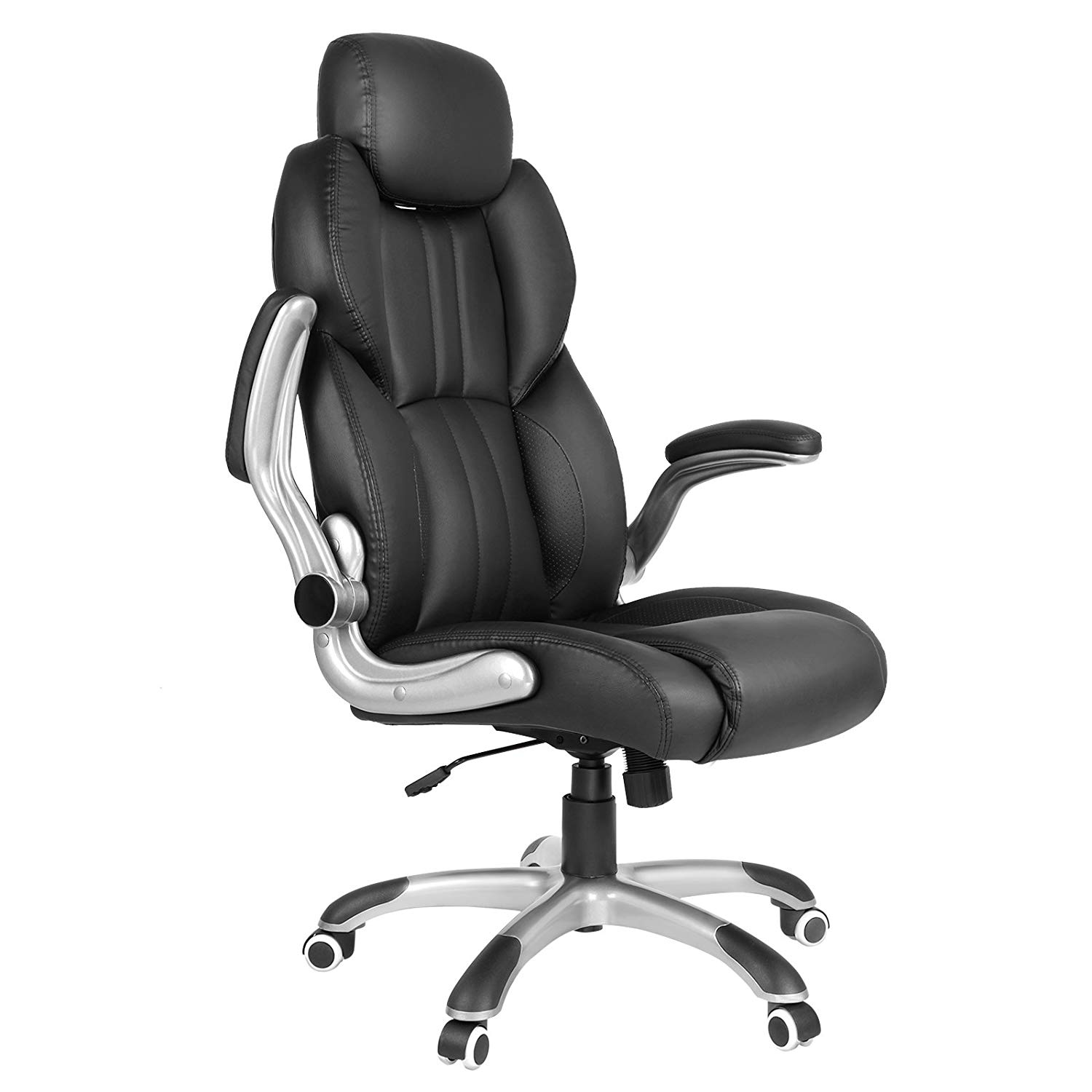 SONGMICS Ergonomic Gaming office Chair, High-back Racing Chair, Height Adjustable, with Adjustable Headrest and Seat, High Backrest, Thickened Padding, Rocking Function, Black, UOBG65BK