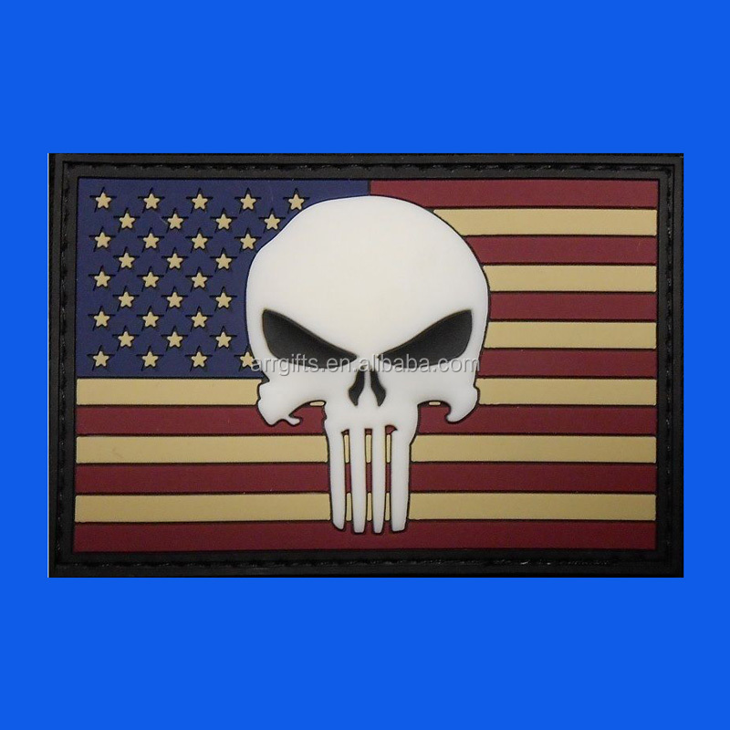 Glow In The Dark Punisher Skull American Flag Rubber Patch