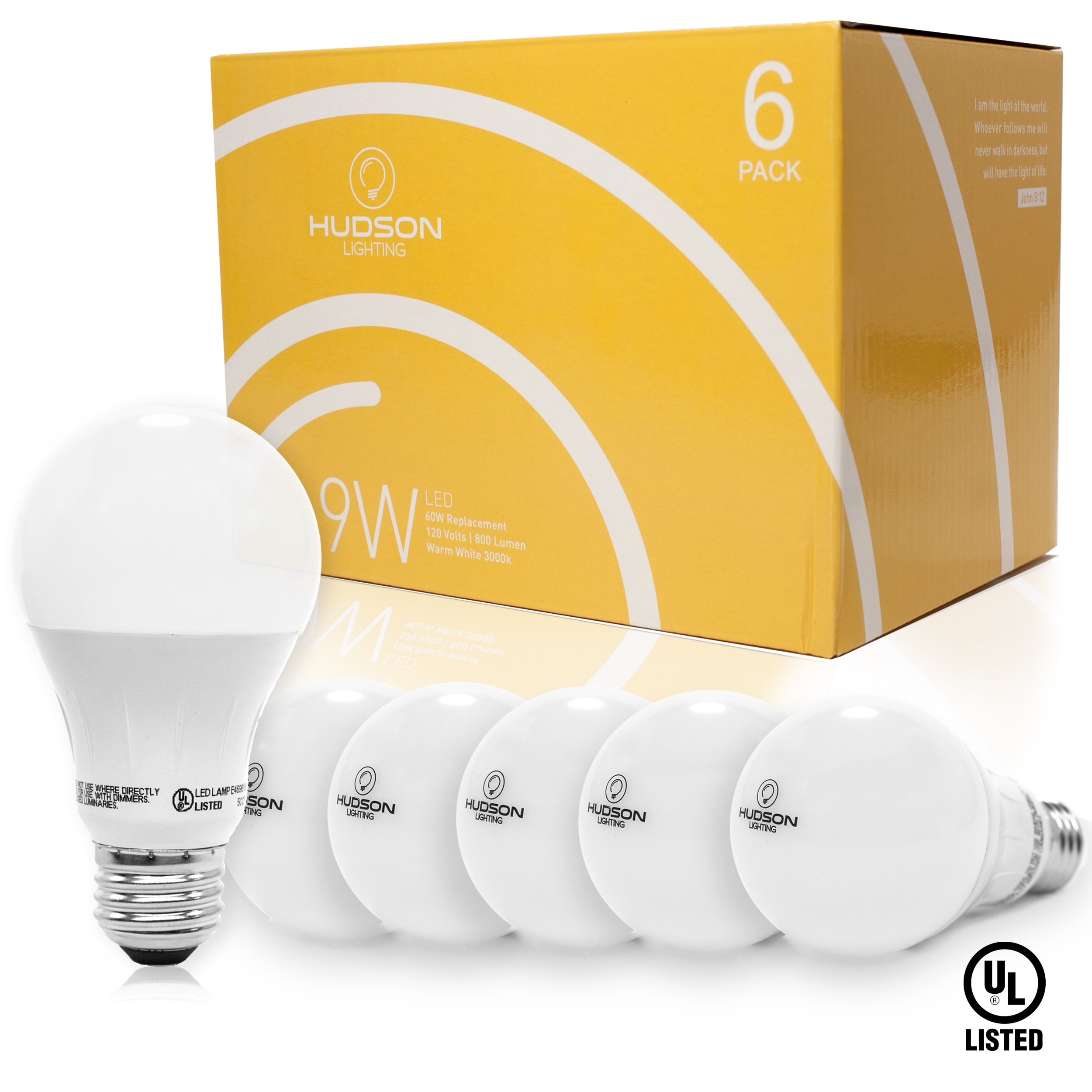 Hudson Lighting LED Light Bulbs- UL Listed- 60 Watt Equivalent - A19 - 800 Lumens - Warm White 3000k - 9 Watt - Indoor and outdoor - 6 Pack