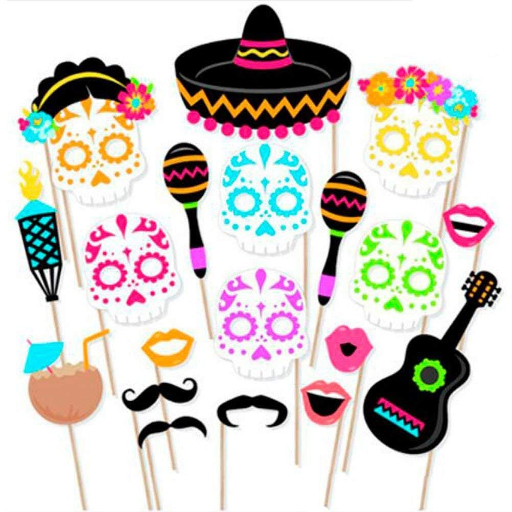 LUOEM Hawaiian Photo Booth Props Cinco de Mayo Party Props Mexico Fiesta Party Supplies Day of The Dead Luau Party Supplies 21PCS