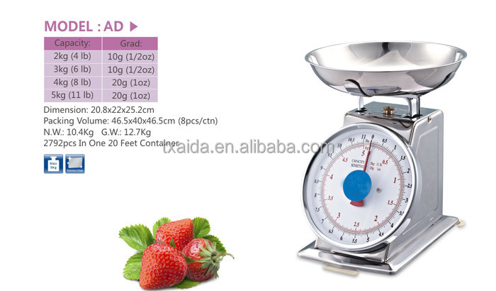 AD High-grade stainless steel Mechanical food scale