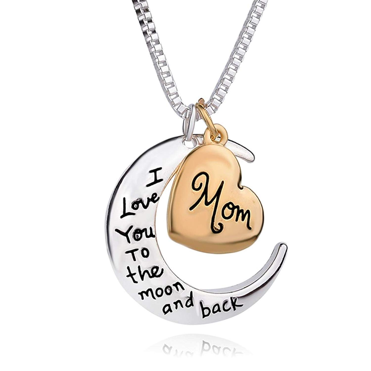 c26a81664 Get Quotations · QUEENA Mother's Day Gift for Mom Heart Moon Shape Cubic  Pendent Necklace Stainless Steel Necklace Chain