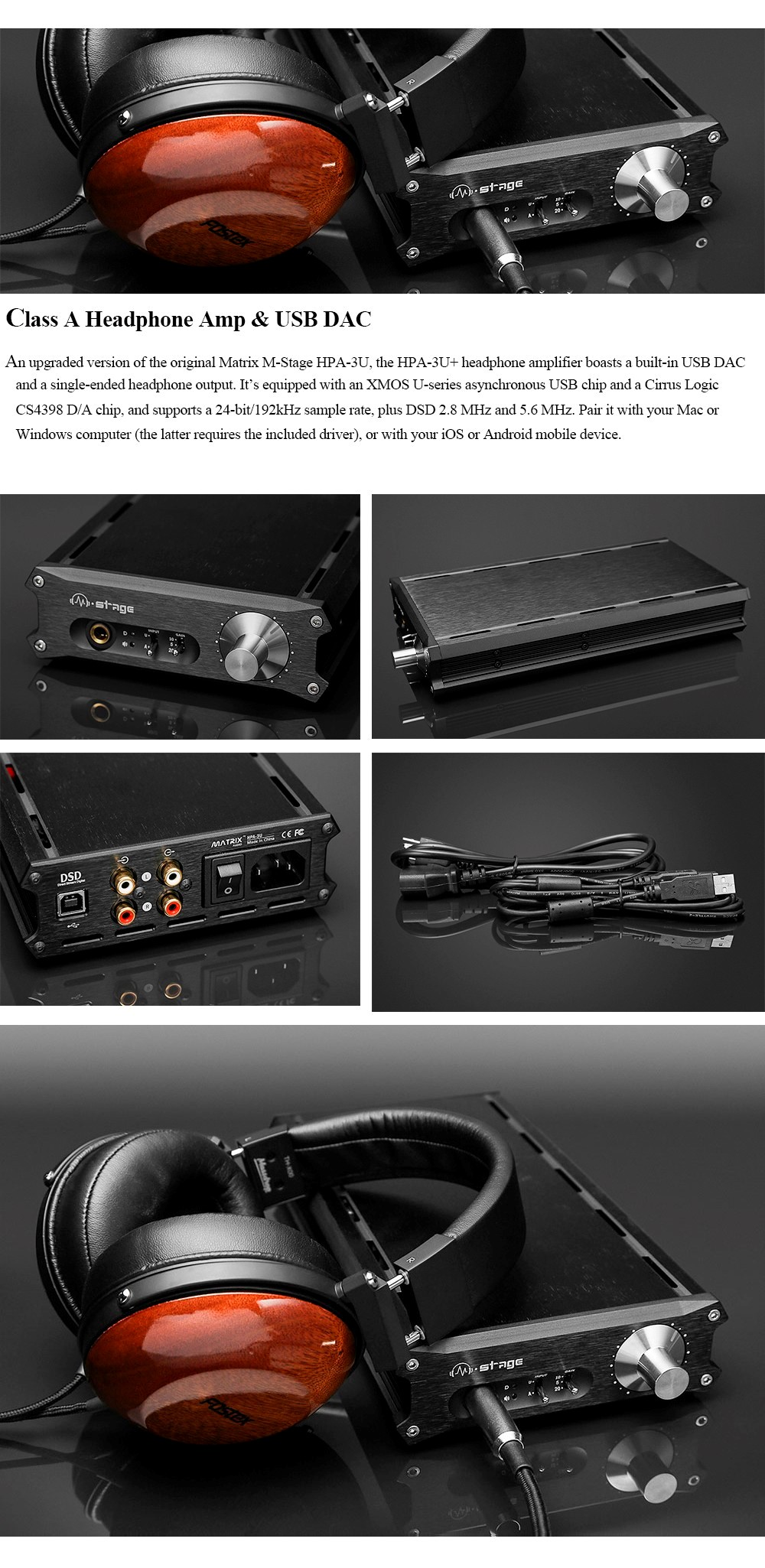 Matrix M-Stage HPA-3U Class A Headphone Amplifier + USB DAC Decoder
