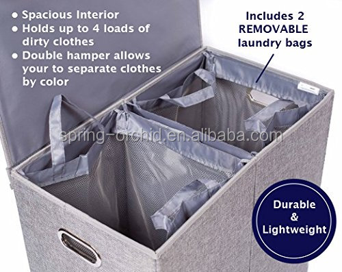 Home Foldable Double Laundry Hamper with Lid and Removable Liners